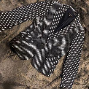 Polka dot blazer in navy and white